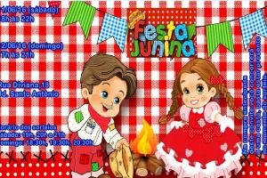 Convite: Festa Junina em 11 e 12 de Junho.